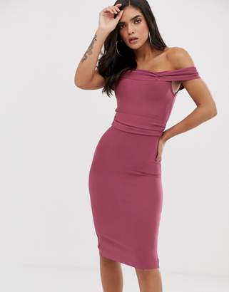The Girlcode bandage bodycon dress with frill off shoulder in plum