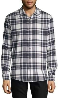 Black & Brown Black Brown Brushed Flannel Exploded Plaid Shirt