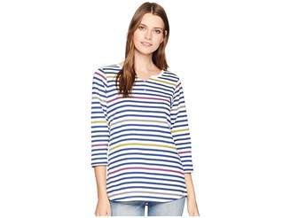 FDJ French Dressing Jeans Multi Striped Notched Collar 3/4 Sleeve Top