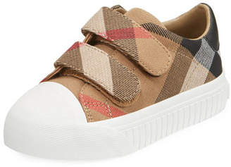 Burberry Belside Check Sneaker, Beige/White, Toddler Sizes 7-10