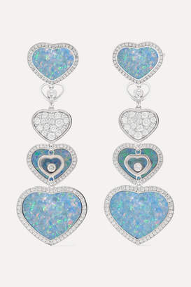 Chopard Happy Hearts 18-karat White Gold, Diamond And Opal Earrings