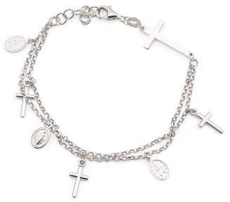 Made In Italy Sterling Silver 2 Strand Cross Bracelet