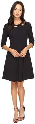 Donna Morgan Pebble Crepe Shift Dress with Neck Lacing Women's Dress