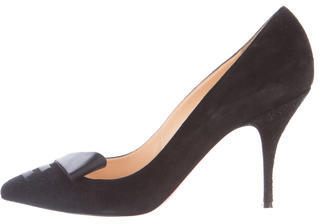 Christian Louboutin Christian Louboutin Bow-Accented Suede Pumps
