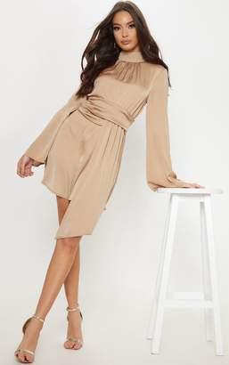 PrettyLittleThing Mocha Hammered Satin High Neck Drape Bodycon Dress
