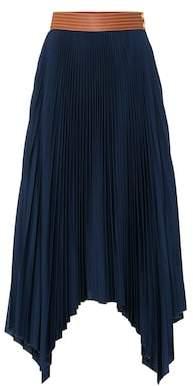Loewe Leather-trimmed pleated skirt