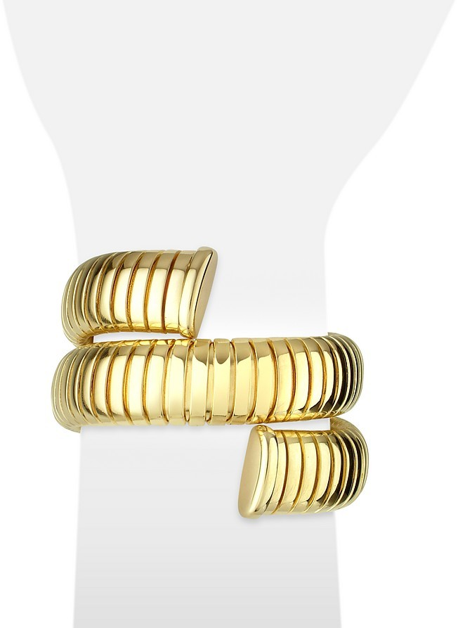 A-Z Collection Gold Plated Winding Snake Stretch Bracelet