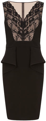 Dorothy Perkins Black/blush layer peplum dress