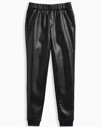 Splendid Girl Faux Leather Jogger with Zippers
