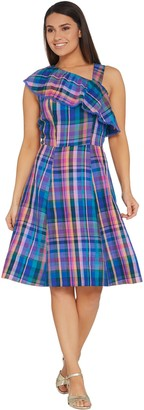 Isaac Mizrahi Live! One-Shoulder Madras Plaid Dress