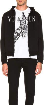 Valentino Logo Zip Hoodie in Black   FWRD
