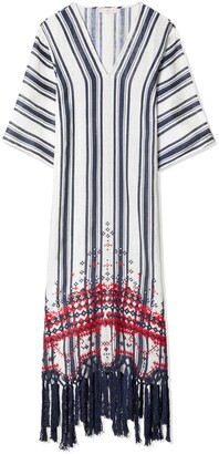 Tory Burch AWNING STRIPE EMBROIDERED CAFTAN