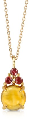 Mia & Beverly Citrine Quartz and Red Sapphires 18K Rose Gold Pendant Necklace