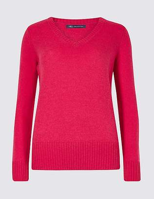 M&S Collection Lambswool Rich Textured V-Neck Jumper