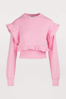 MSGM Cropped ruffled sweater