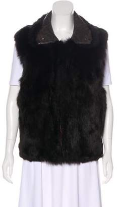 Andrew Marc Hooded Fur Vest Brown Hooded Fur Vest