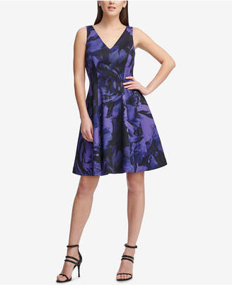DKNY Electric Flower Printed Fit & Flare Dress