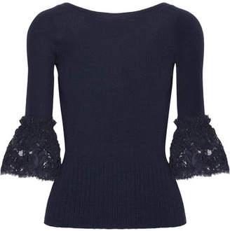 Oscar de la Renta - Corded Lace-trimmed Ribbed Merino Wool Top - Navy $790 thestylecure.com
