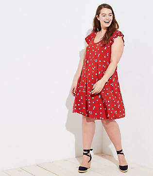 LOFT Plus Floral Ruffle Sleeve Swing Dress