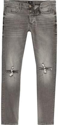 River Island Mens Grey Sid ripped knee skinny jeans