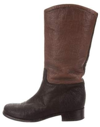 Chanel Round-Toe Mid-Calf Boots