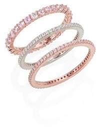 Crislu Stunning Stack Set of Three Crystal Stackable Rings