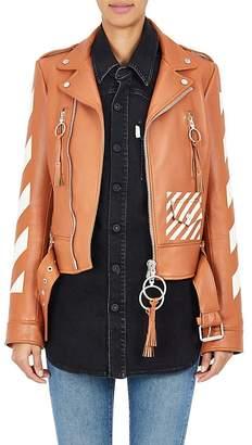 "Off-White Women's ""Woman"" Leather Moto Jacket"
