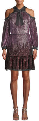 Needle & Thread Kaleidoscope Sequin Cold-Shoulder Short Dress
