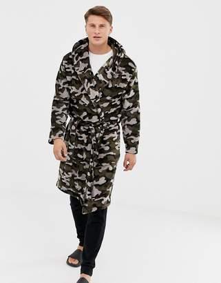 Asos DESIGN robe in fluffy camo