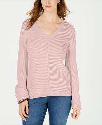 Charter Club V-Neck Cuffed-Sleeve Sweater