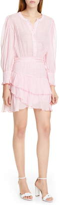 LoveShackFancy Lorelei Ruffle Detail Long Sleeve Cotton Minidress