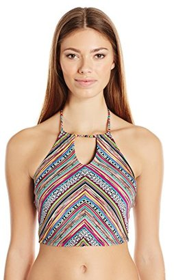Lucky Brand Women's Arabian Night Tie-Neck Bikini Top with Tassels and Removable Cups $64 thestylecure.com