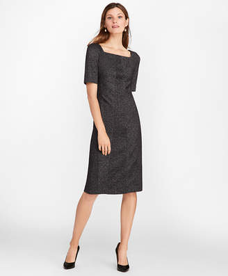 Brooks Brothers Petite Herringbone Knit Wool-Blend Sheath Dress