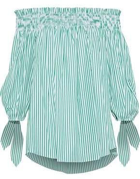 Caroline Constas Lou Off-the-shoulder Striped Cotton-poplin Top