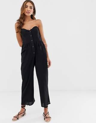 705256b22faa Asos Design DESIGN bandeau button front jumpsuit with pockets