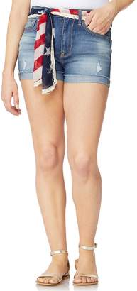 Juniors' Wallflower American Flag Belted High-Waisted Jean Shortie Shorts