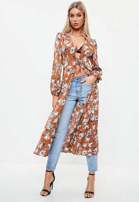 Missguided Brown Floral Lace Up Duster Jacket