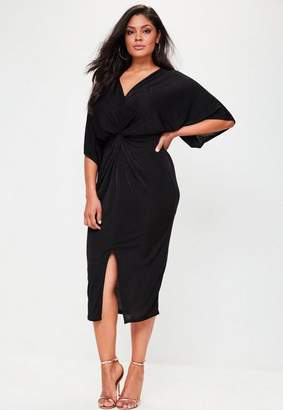 Missguided Plus Size Black Slinky Kimono Midi Dress