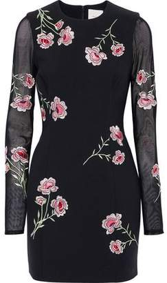 Cinq à Sept Anna Mesh-Paneled Embroidered Cady Mini Dress
