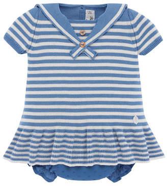 Carrera Pili Nautical Stripe Knit Dress w/ Swiss Dot Bloomers, Size 3M-2