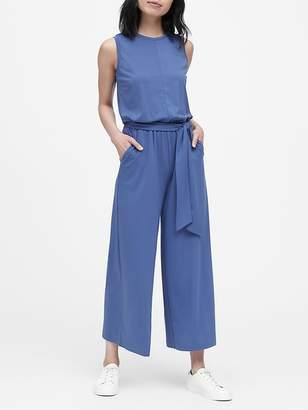 Banana Republic Petite Soft Ponte Cropped Wide-Leg Jumpsuit