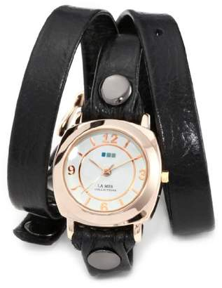 "La Mer Women's LMODY004""Odyssey"" 14k Gold-plated Watch with Black Leather Wrap-Around Band"