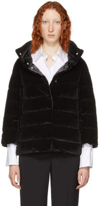Herno Black Down Velvet Cocoon Jacket