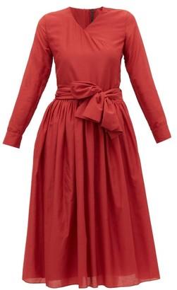Sara Lanzi V Neck Cotton Blend Wrap Dress - Womens - Red