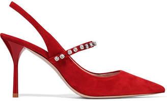 Miu Miu Crystal-embellished Suede Slingback Pumps - Red