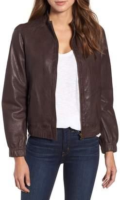 Caslon Washed Leather Bomber Jacket