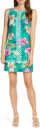 Eliza J Floral Print Sleeveless Jacquard Dress