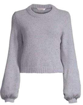 Milly Tweed Bishop-Sleeve Sweater