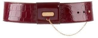Alexander McQueen Embossed Leather Waist Belt