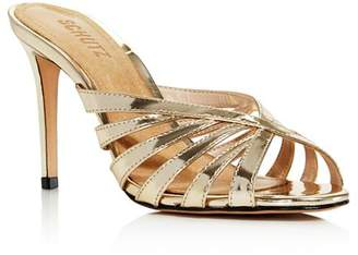 Schutz Women's Beylah Metallic Leather Slide Sandals